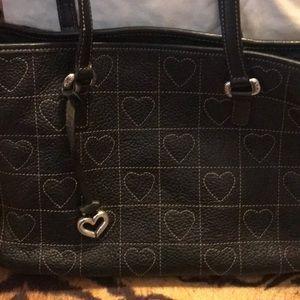 Black leather Brighton bag white ❤️ stitching